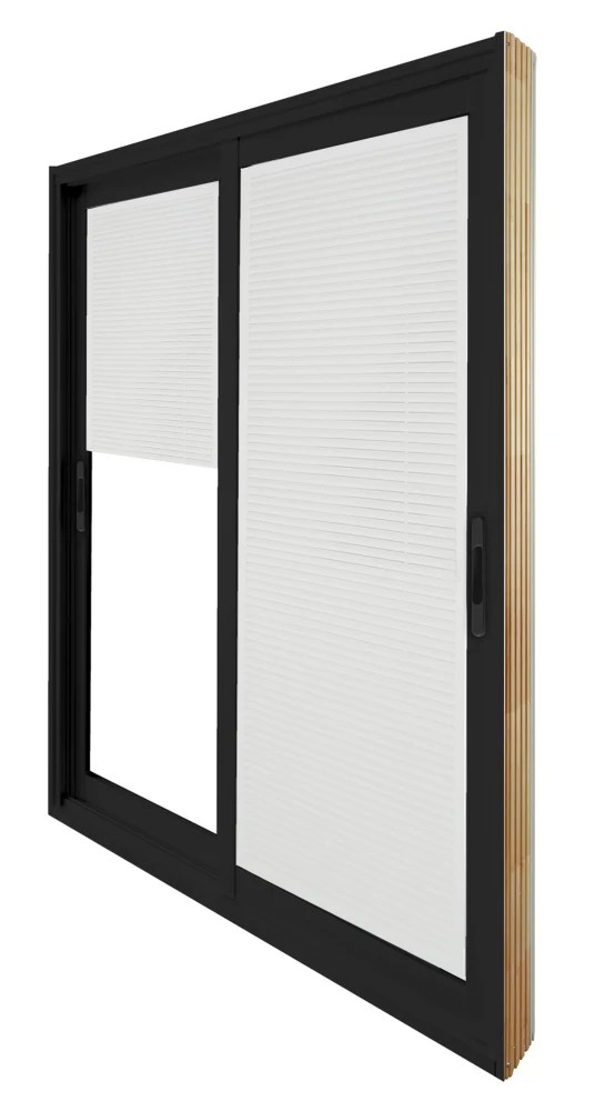 71 75 inch x 79 75 inch clear lowe painted black double sliding vinyl patio door with internal mini blinds