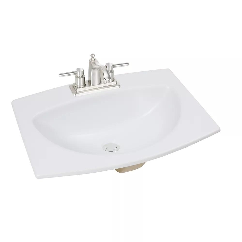 24 inch w x 18 inch d rectangular drop in bathroom sink in matte white