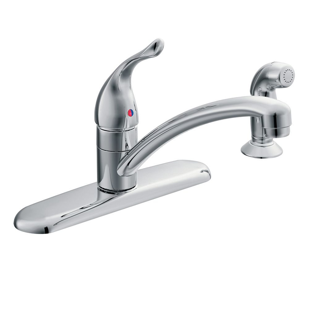 chateau single handle standard kitchen faucet with side sprayer in chrome
