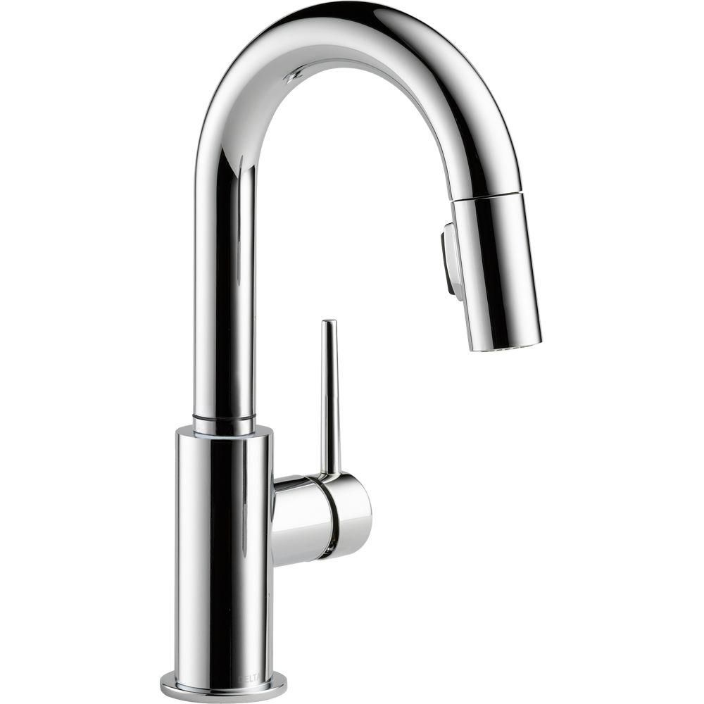 trinsic single handle pull down bar faucet chrome