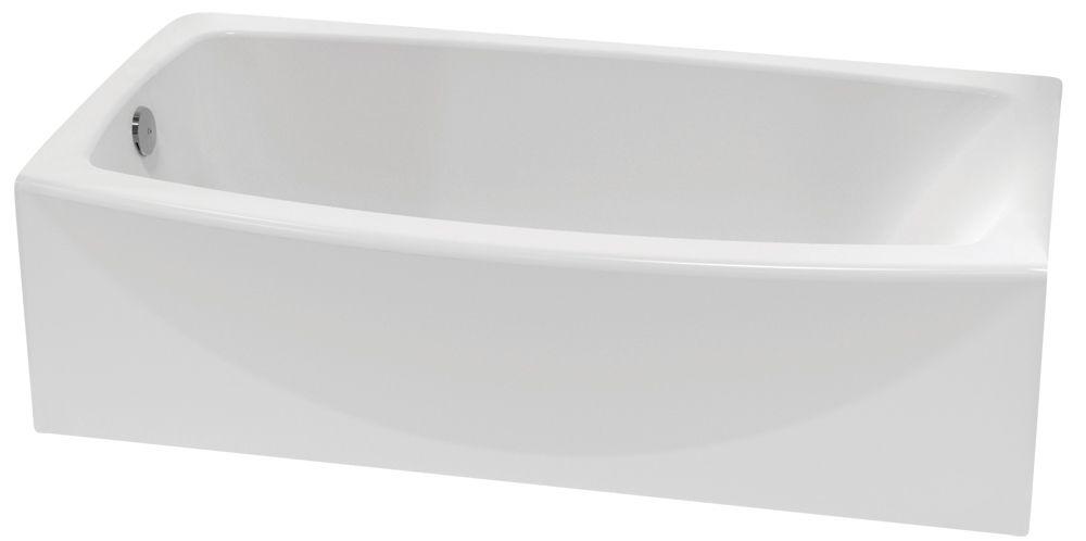 cadet alcove baignoire rectangulaire en acrylique courbee avec vidage pour la main gauche en blanc