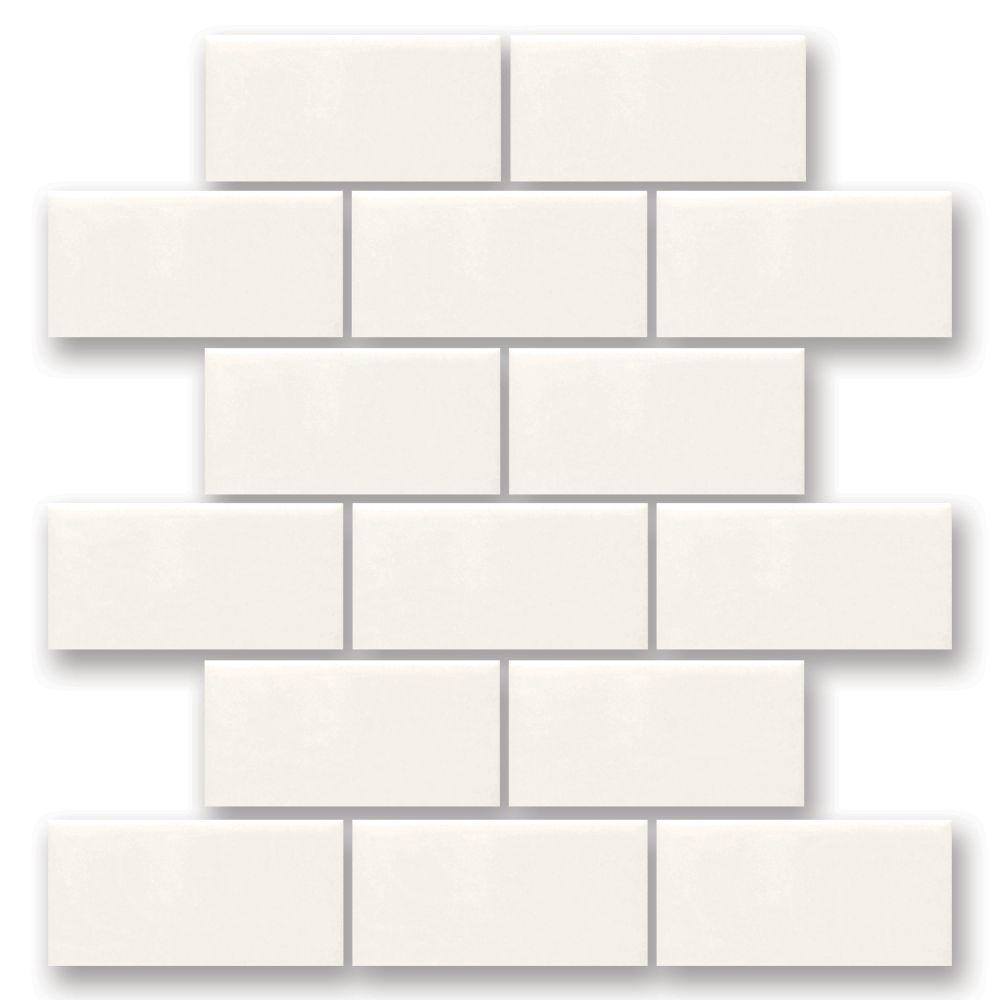 rittenhouse square white 12 inch x 12 inch x 6 35 mm ceramic mosaic tile