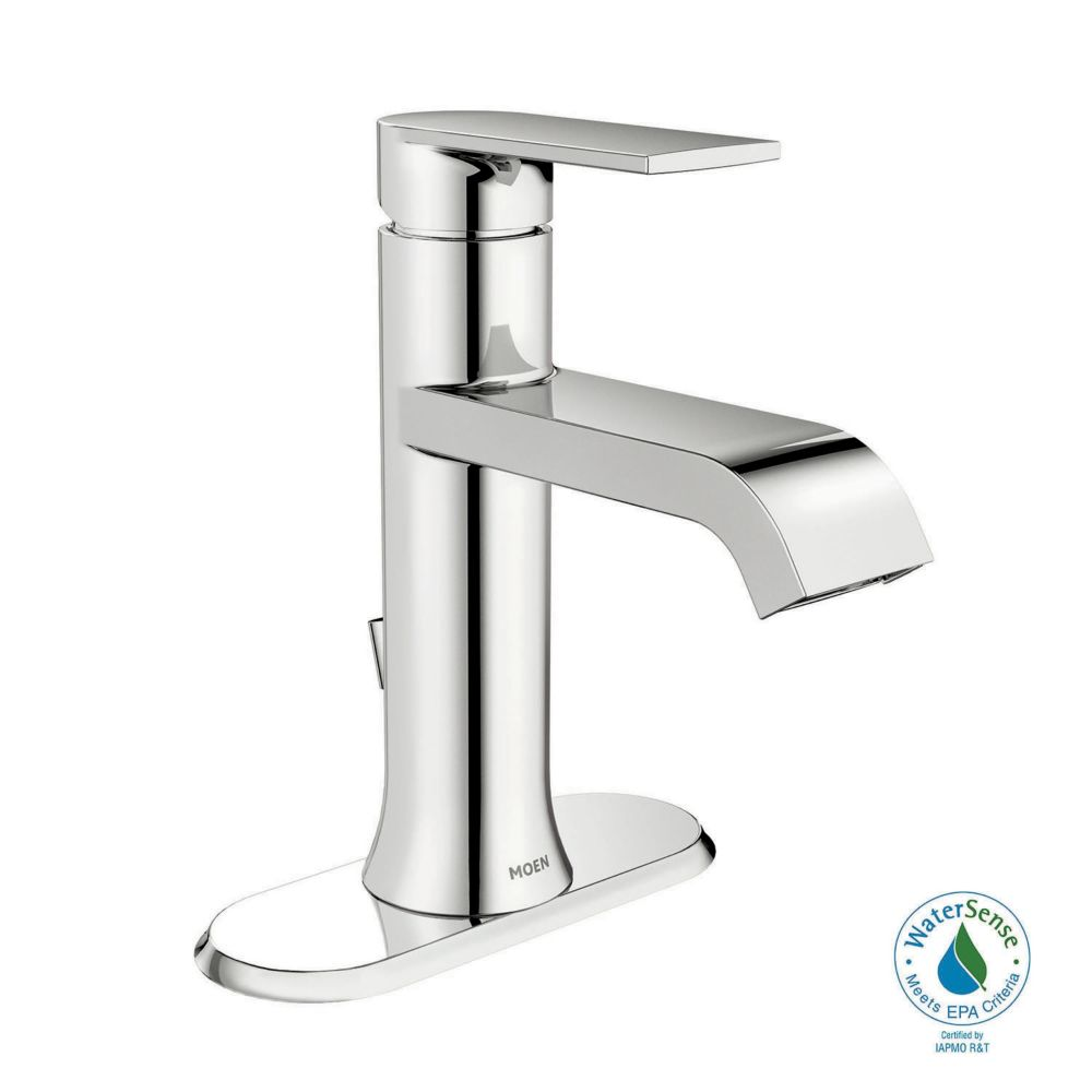 genta single hole single handle bathroom faucet in chrome