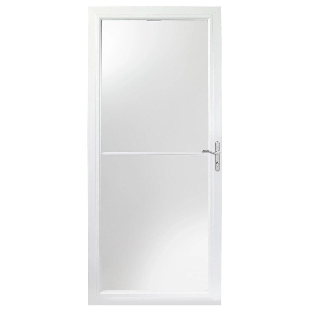 2500 series 32 inch white self storing storm door with nickel hardware