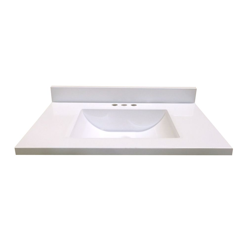 31 inch w x 19 inch d marble vanity top in white with wave bowl