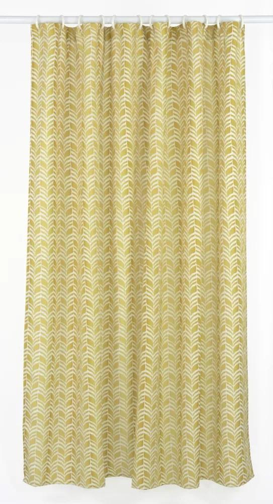 metro geometric chevron fabric shower curtain liner ring set 14 piece golden yellow linen beige