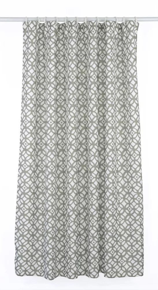 madison geometric fabric shower curtain liner ring set 14 piece putty grey white