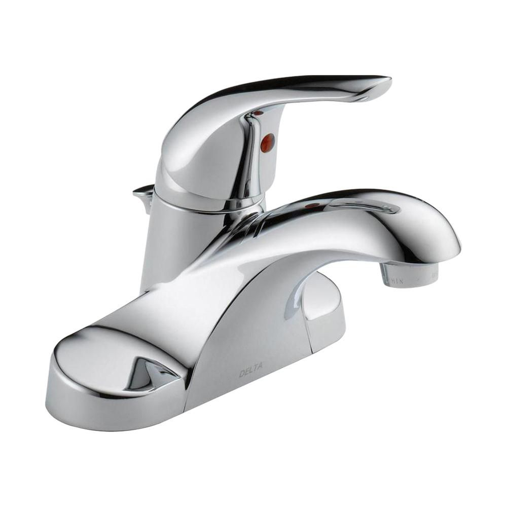 foundations 4 inch centerset single handle bathroom faucet in chrome