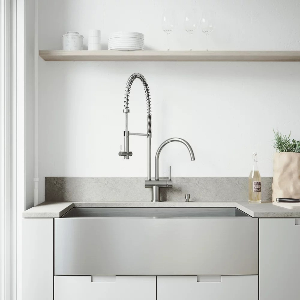 all in one farmhouse apron front stainless steel 36 in single bowl kitchen sink pull down faucet in stainless steel