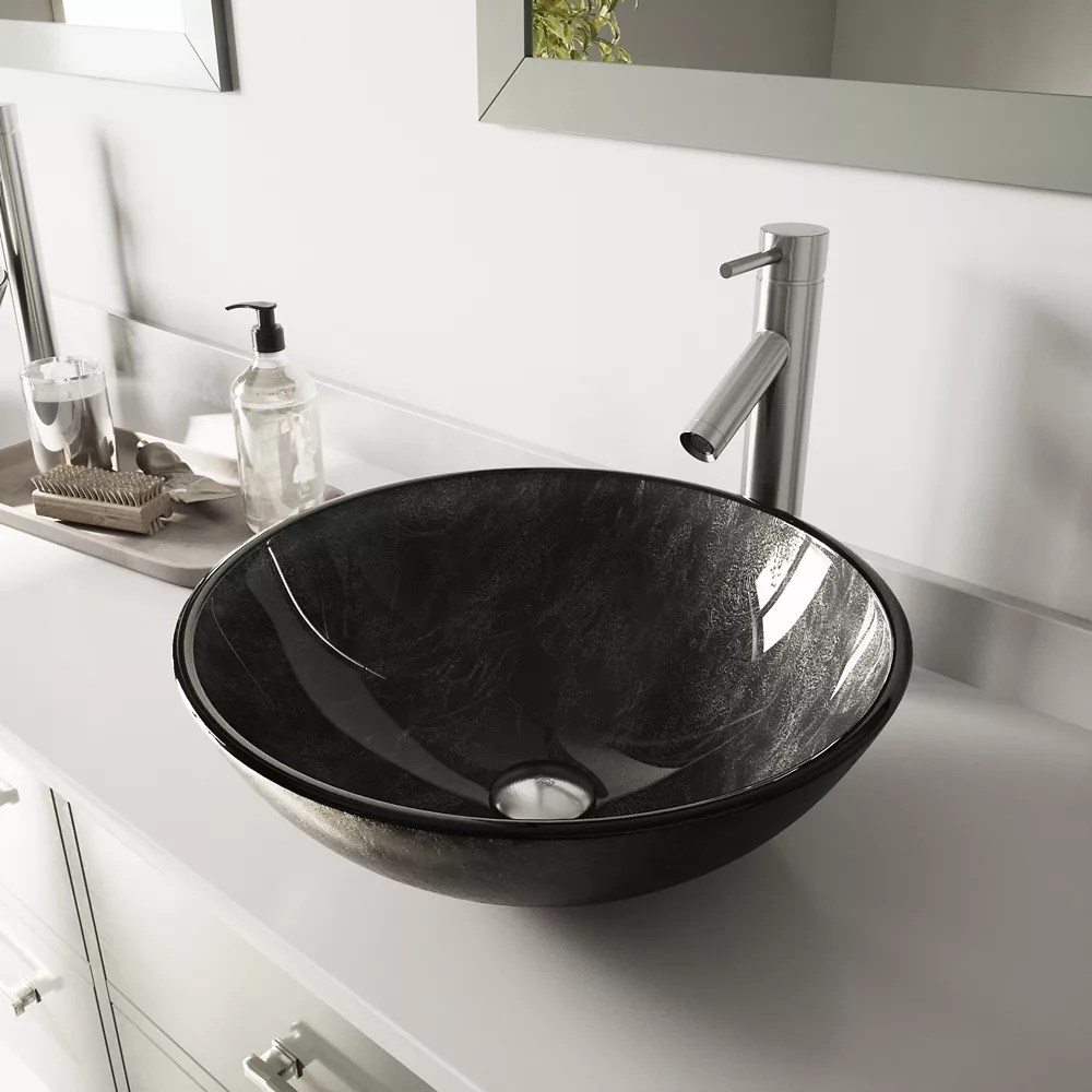 glass vessel bathroom sink in gray onyx and dior faucet set in brushed nickel