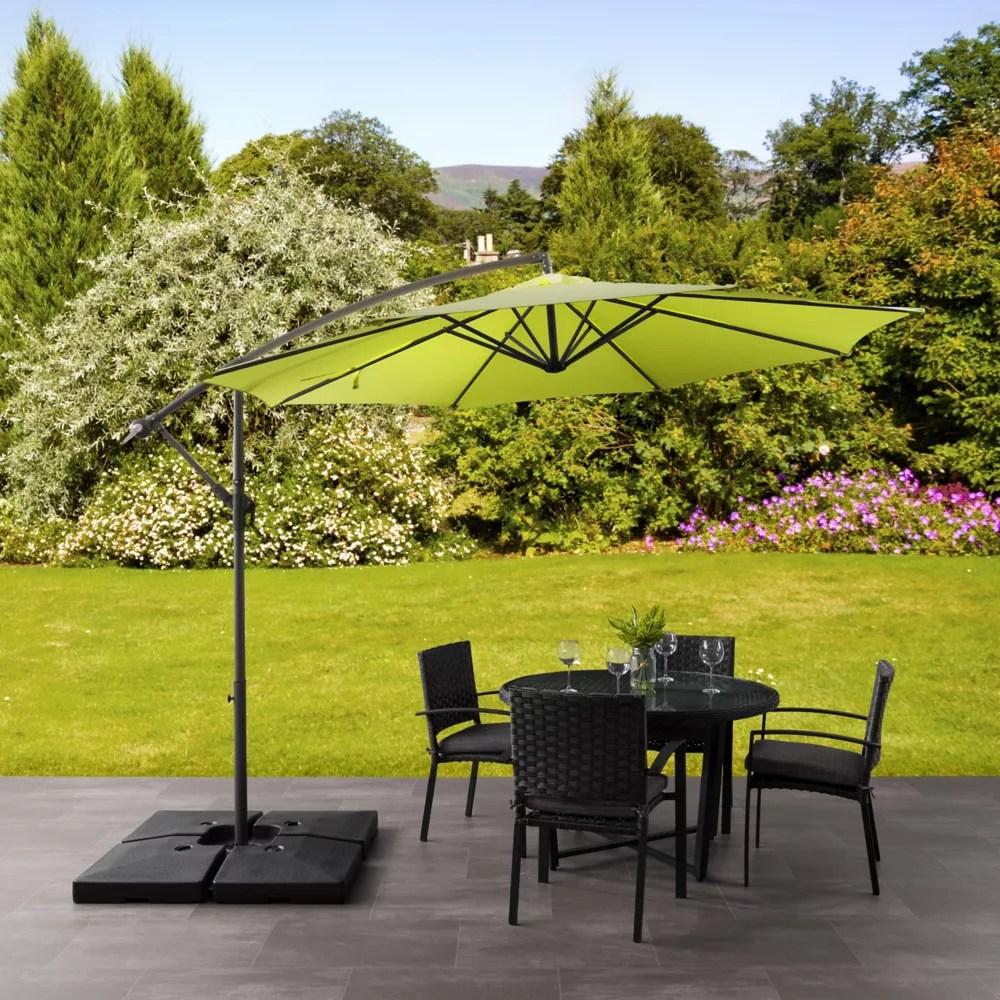 9 5 ft uv resistant offset lime green patio umbrella