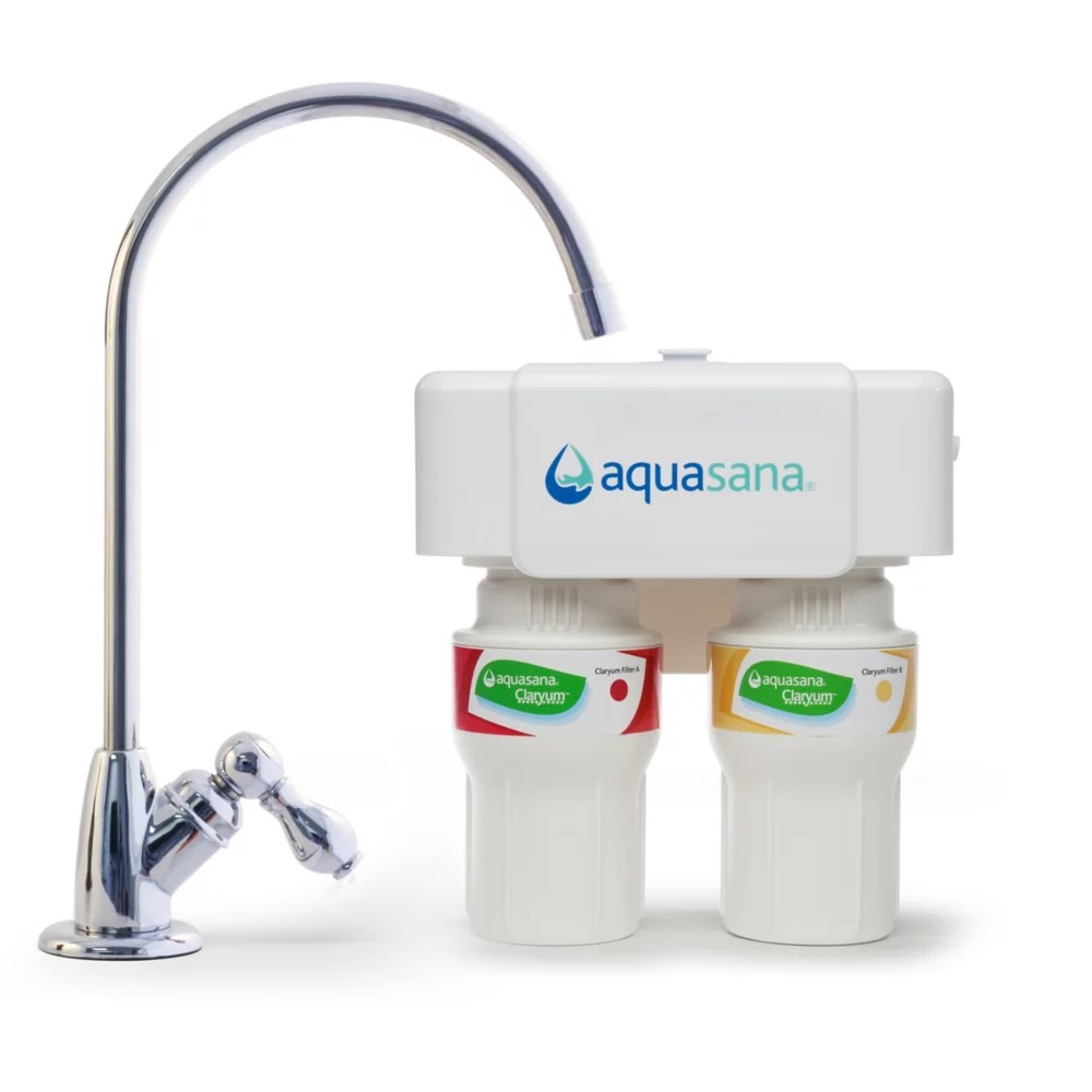 2 stage under counter water filtration system with chrome finish faucet