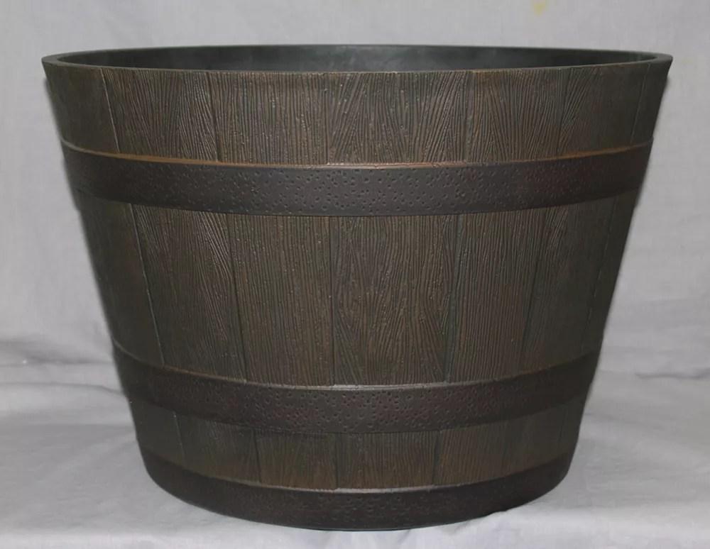 20 5 inch whiskey barrel resin planter in kentucky walnut