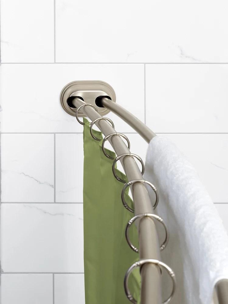 zenna home neverrust 50 72 alum adjustable tension mount double curved shower rod in satin nickel