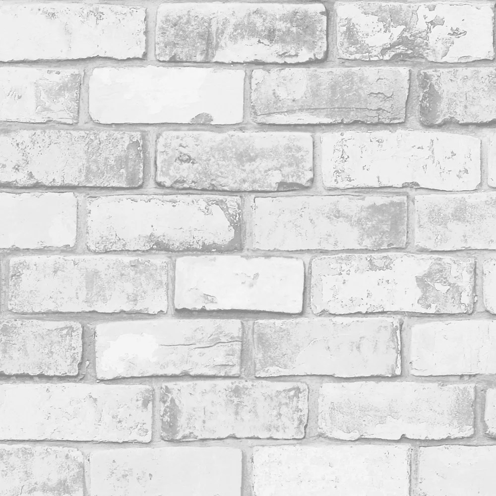 brique papier peint gris blanc