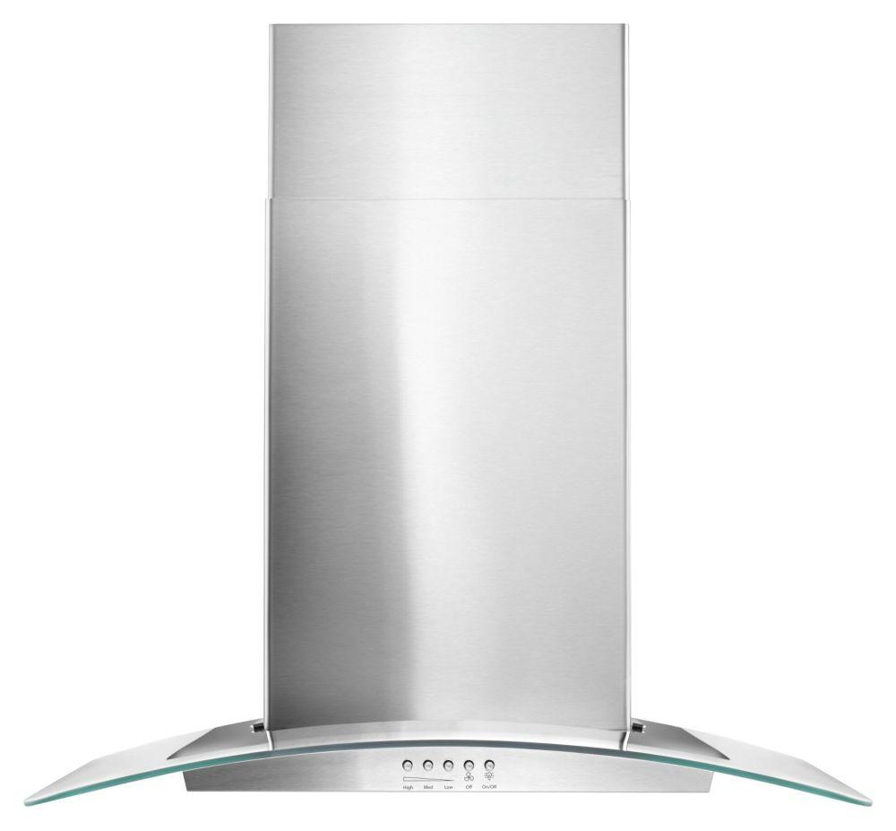 30 inch modern glass wall mount range hood in stainless steel