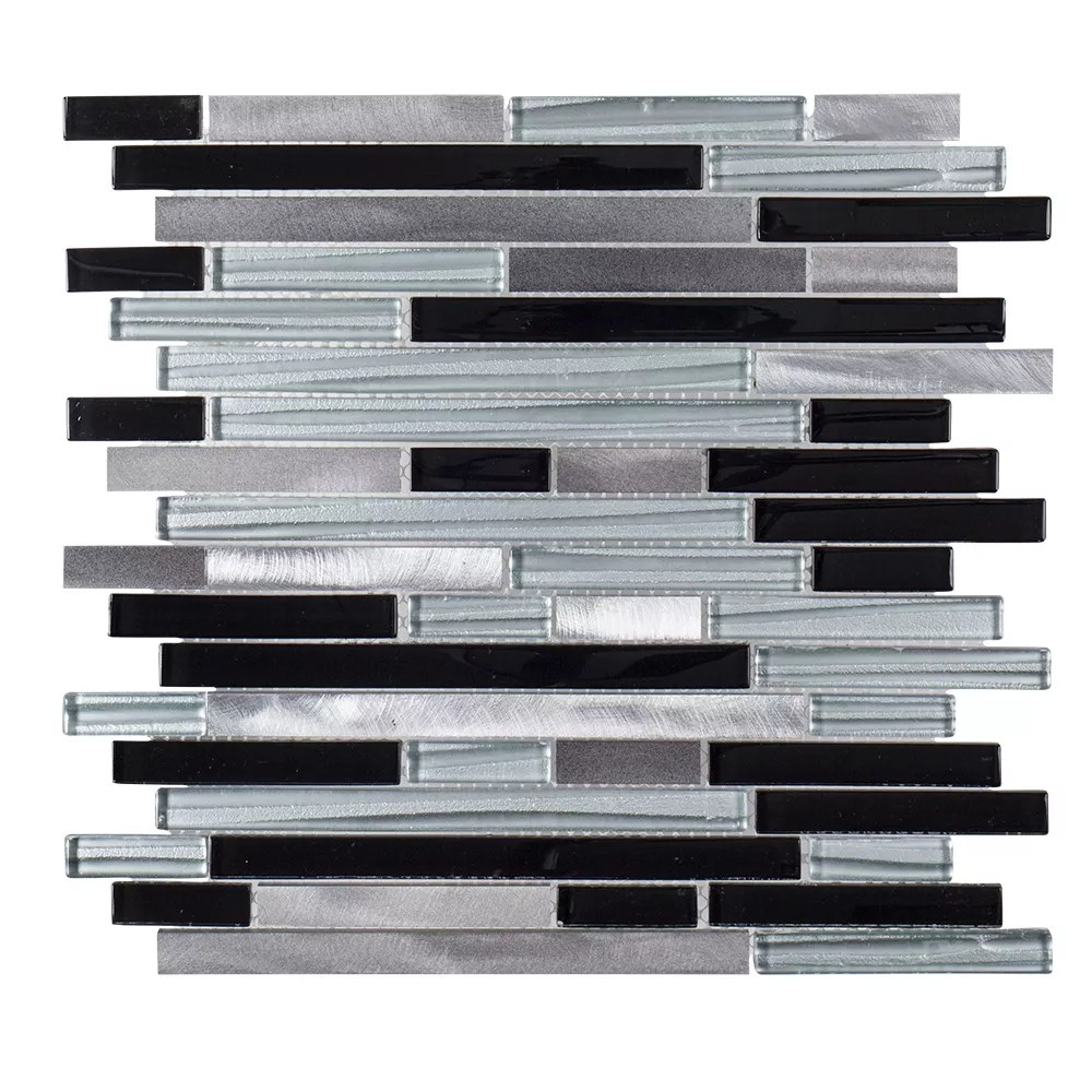 binary code 11 625 inch x 11 75 inch x 6mm glass metal mosaic tile