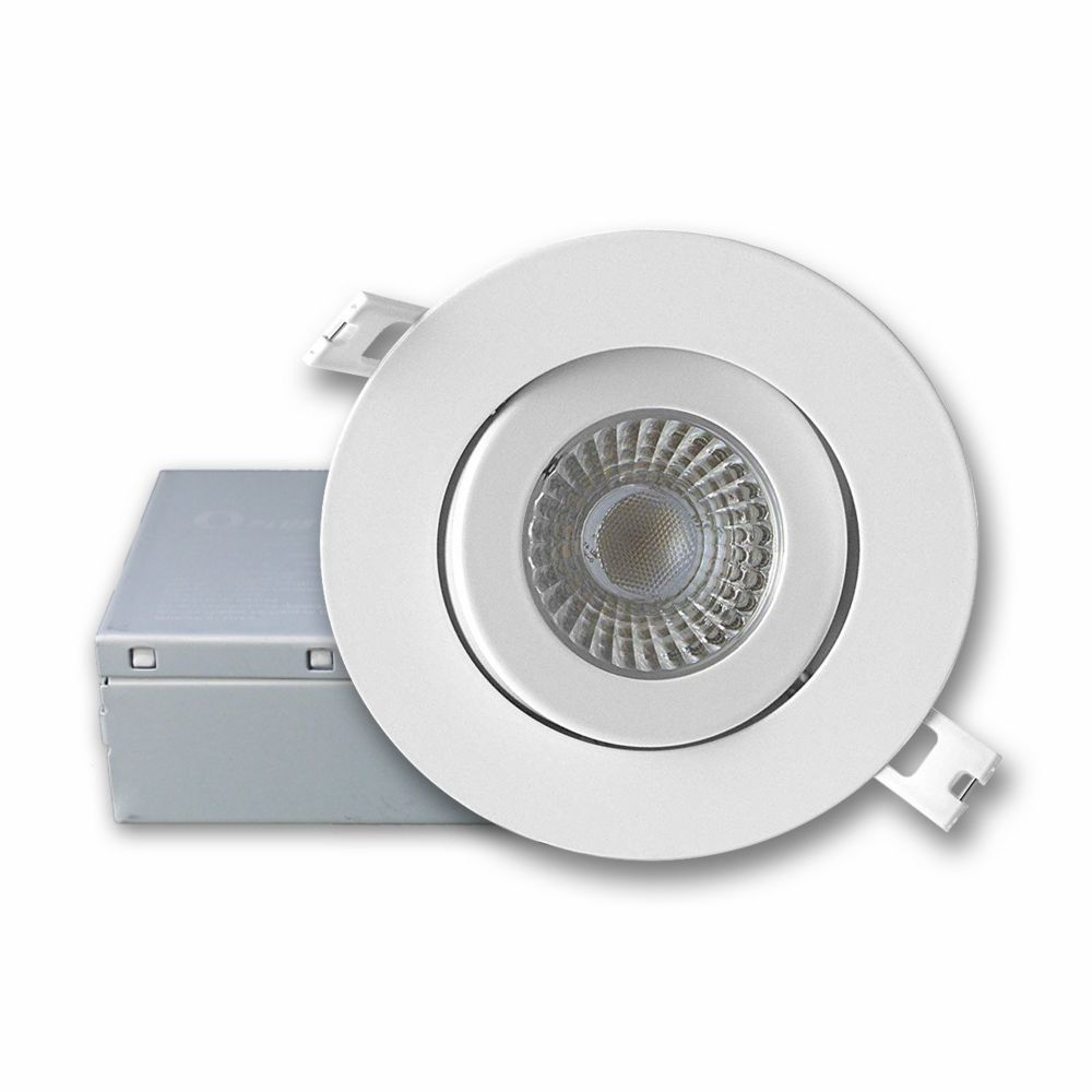 4 inch integrated cool white 5000k dimmable led gimbal trim recessed light kit in white with junction box energy star