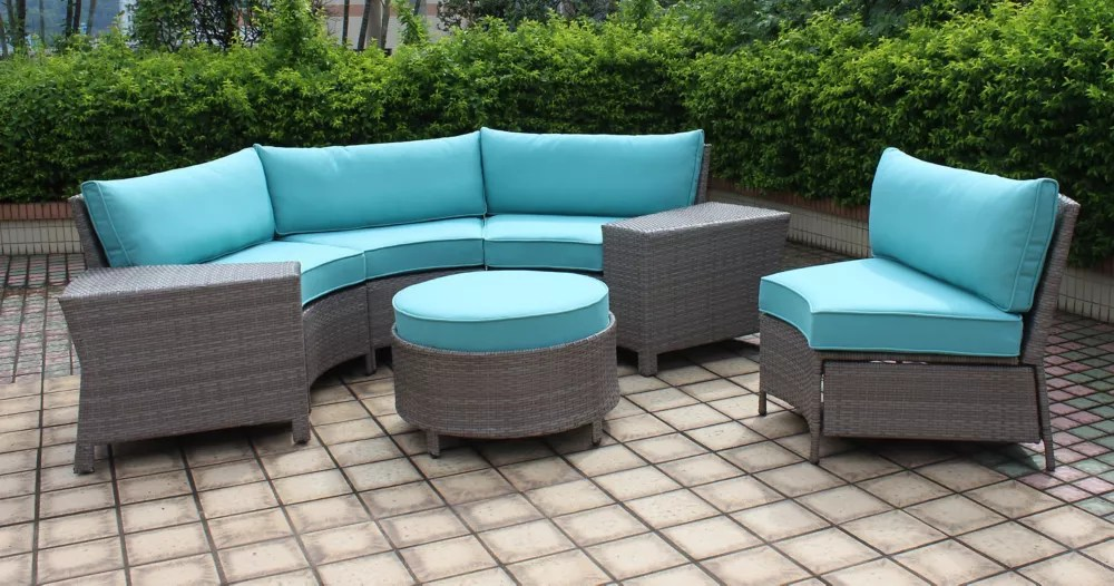 labriza 7 piece all weather wicker round patio sectional set in grey with teal cushions