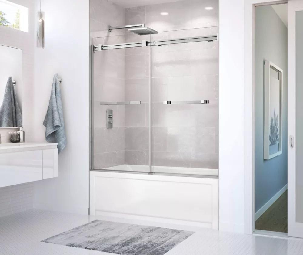 duel 56 59 x 55 1 2 po porte de baignoire coulissante sans cadre fini chrome avec verre clair