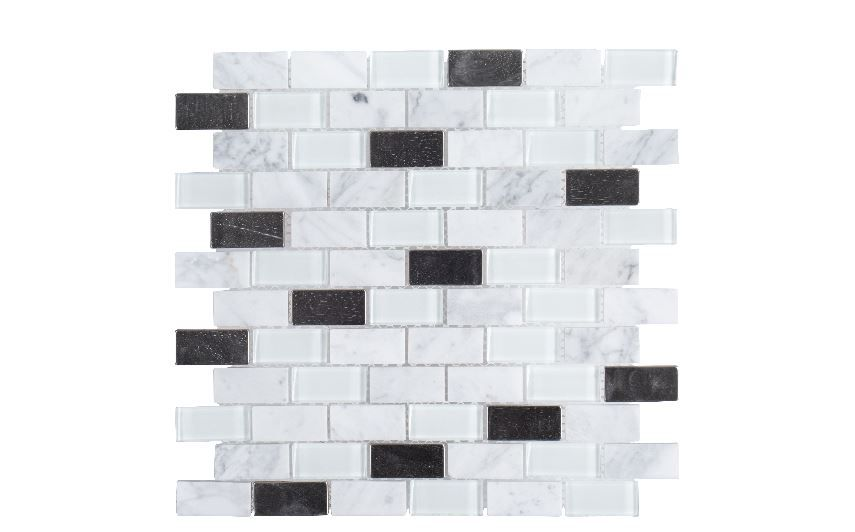 11 6 inch x 11 6 inch x 6mm mosaic tile in techno white glass metal