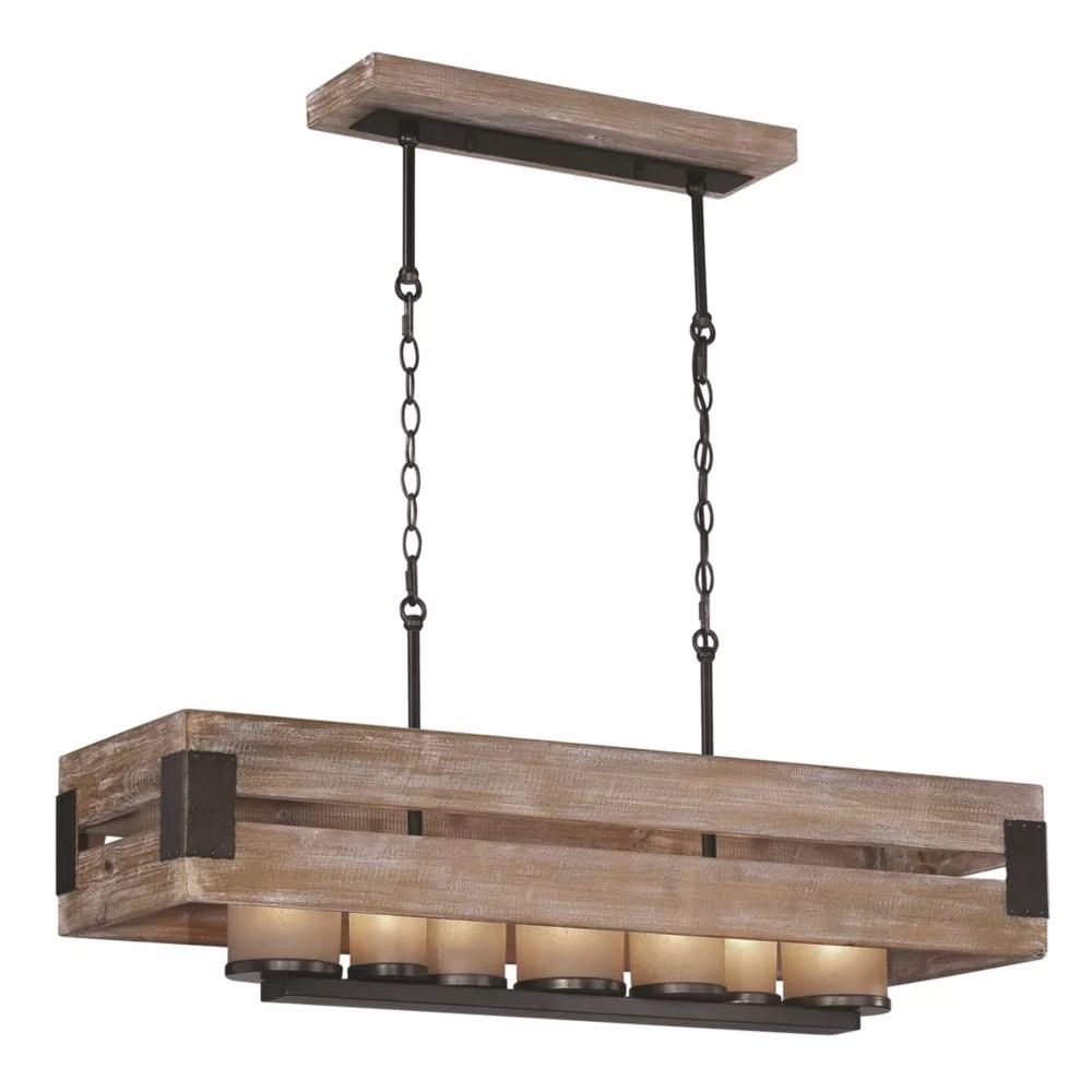lustre lineaire a 7 ampoules en metal vieilli noir et bois rustique