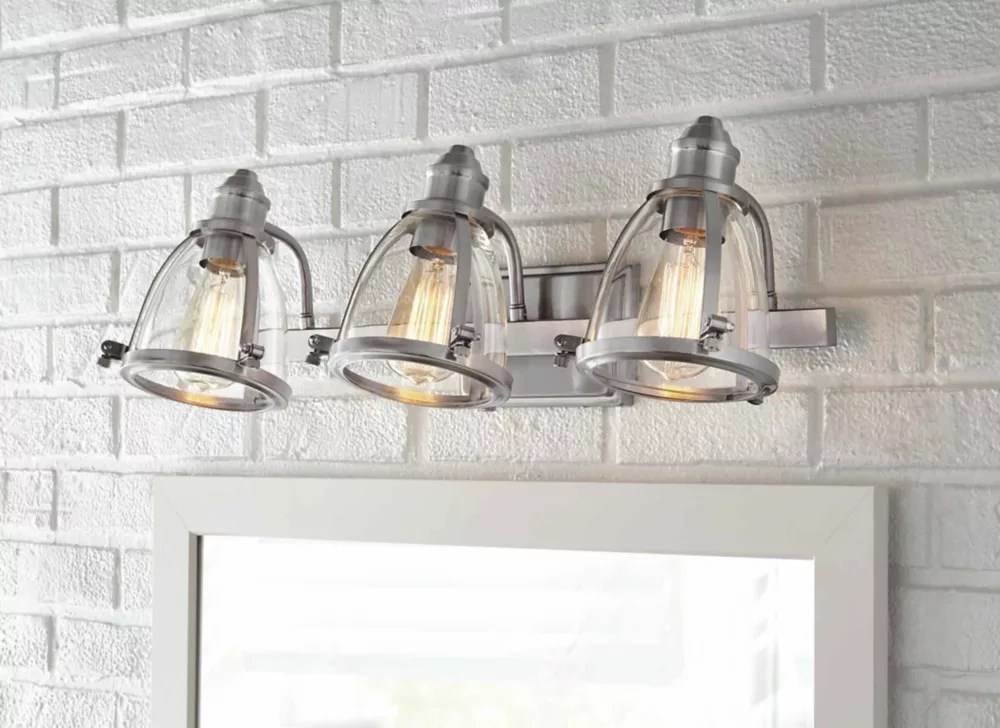 alidian 3 light brushed nickel vanity light with glass shades