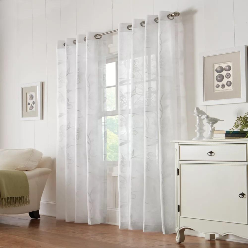wildflower sheer grommet curtain panel 54 w x 95 l in white