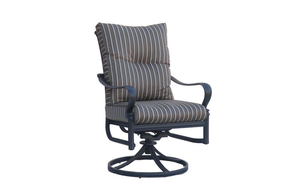 panacea high back swivel rocker patio dining chair with cushion