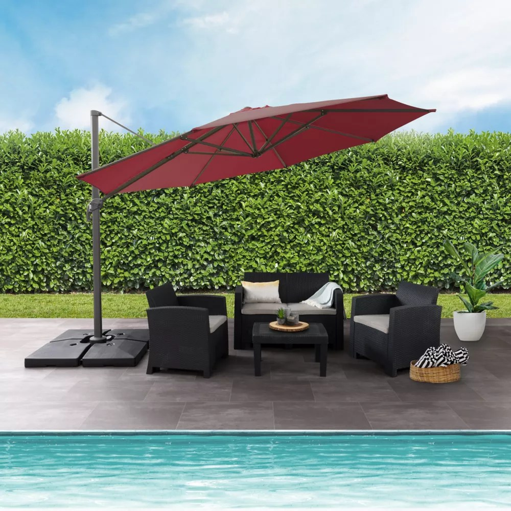 11 5 ft uv resistant deluxe offset wine red patio umbrella
