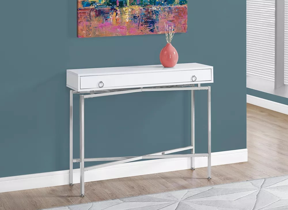 Monarch Specialties Table D Appoint 42 Po L Blanc Lustre Console D Entree Chrome Home Depot Canada