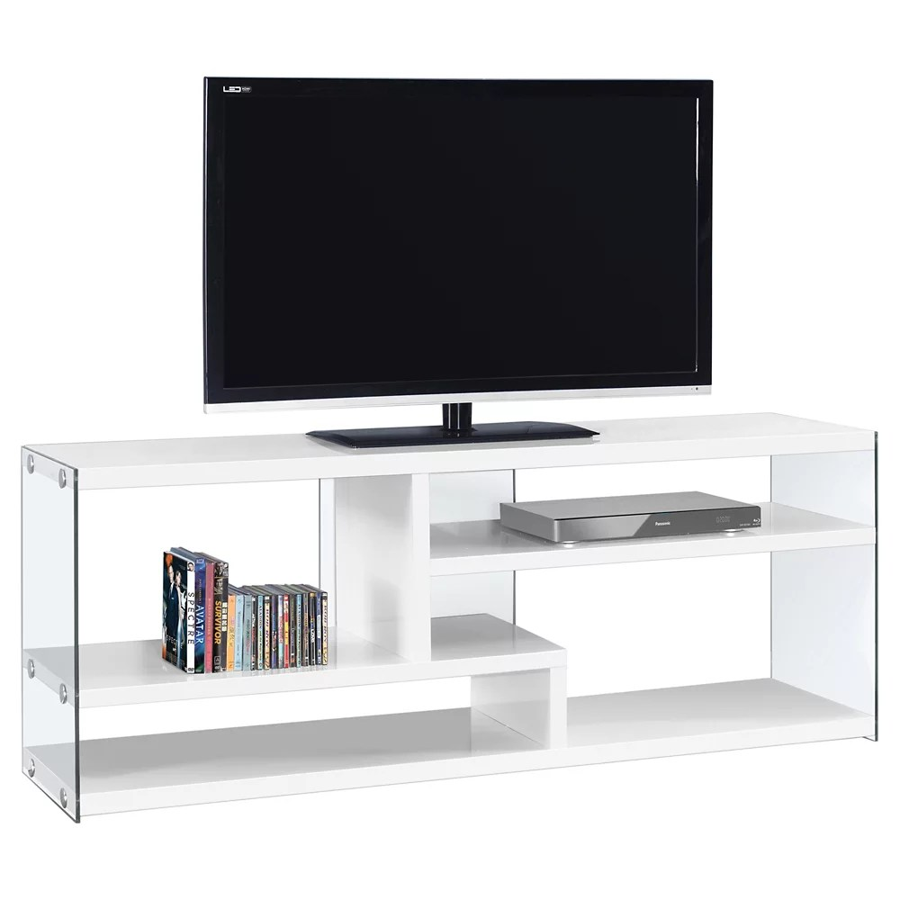meuble tv 60 po l blanc lustre et verre trempe