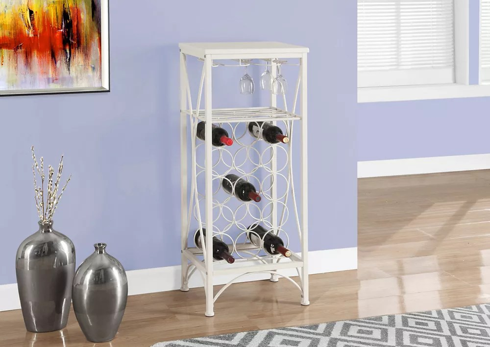 bar maison 40 po h metal blanc support a verre bouteille