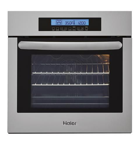 24 inch w single electric wall oven with convection in stainless steel