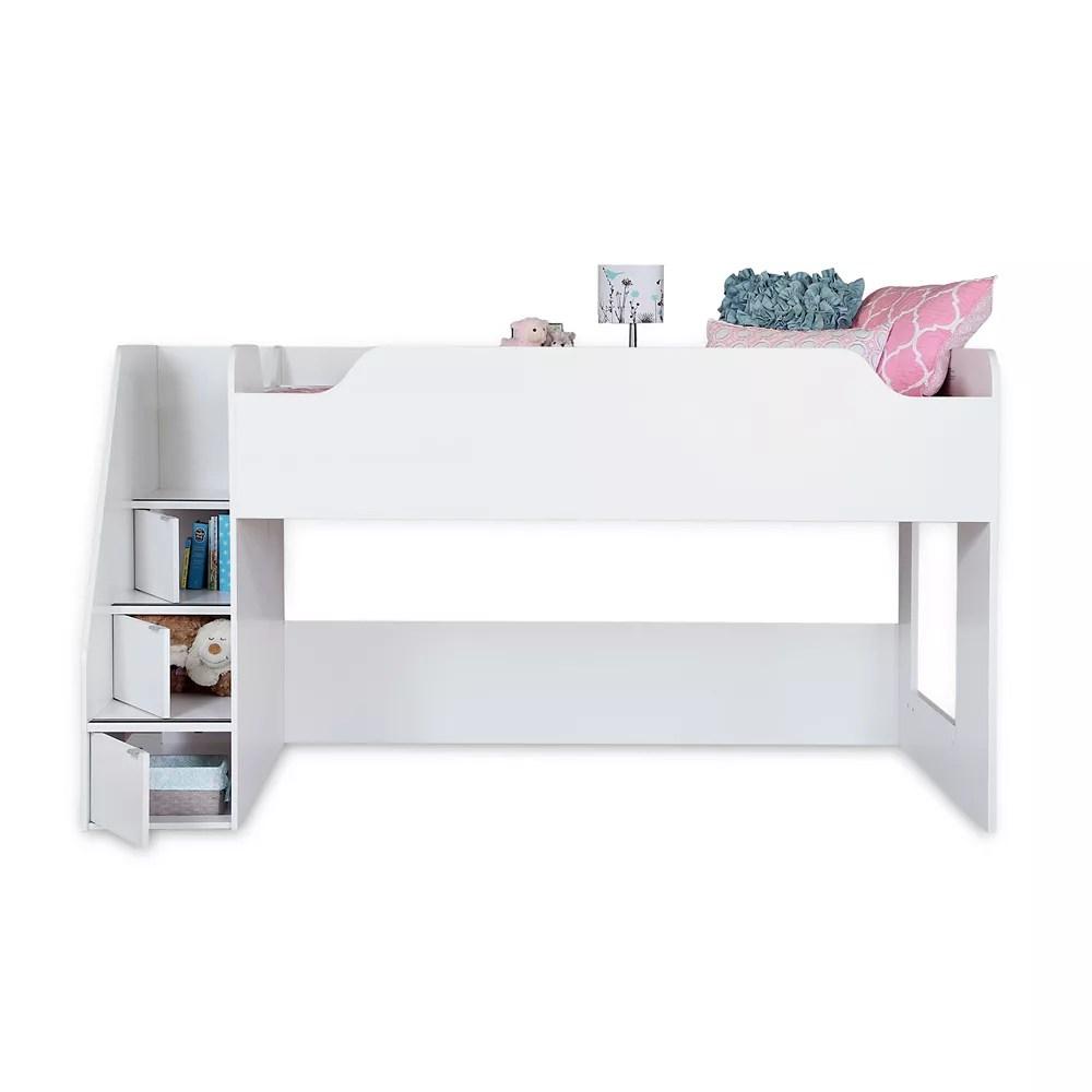 lit mezzanine simple 39 avec escalier mobby blanc solide