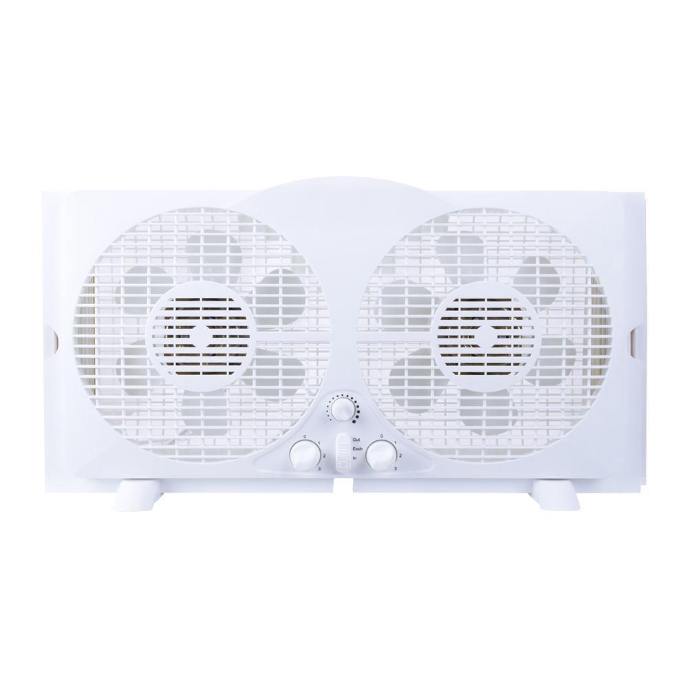 65 watt 9 inch white reversible twin window fan