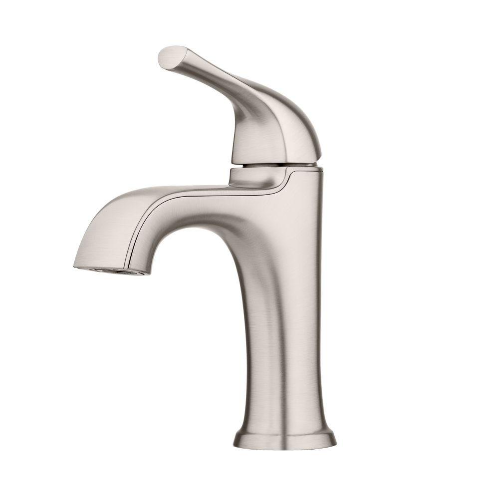 ladera single hole single lever bathroom faucet with deck plate in spot defense brushed nickel