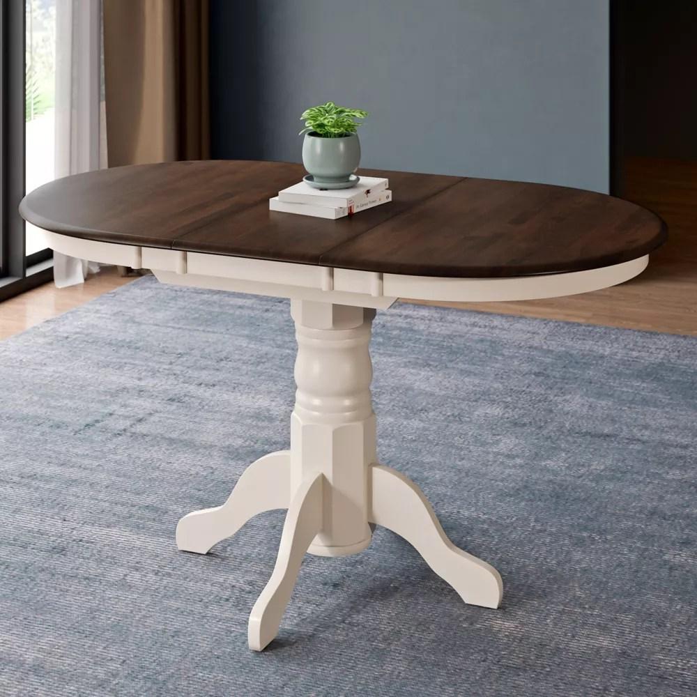 table ovale extensible avec rallonge papillon 12 po creme brun fonce