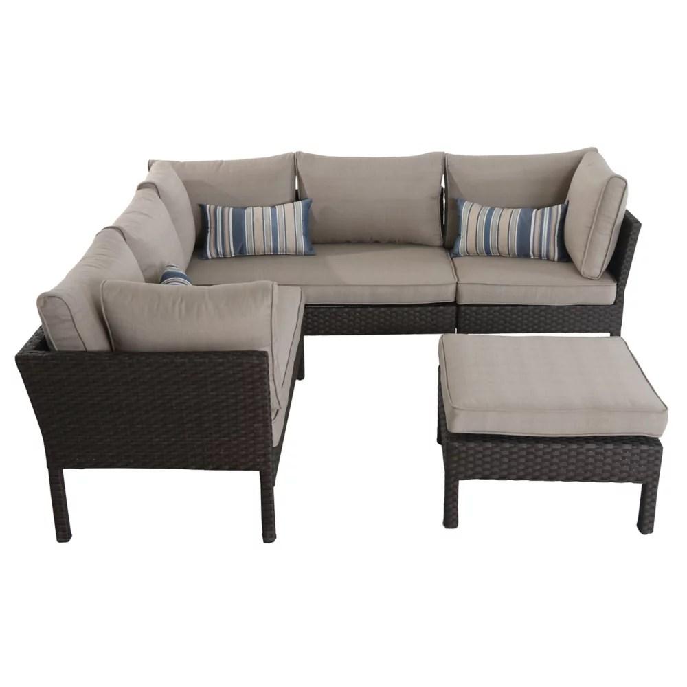 albany 4 piece wicker patio sectional set