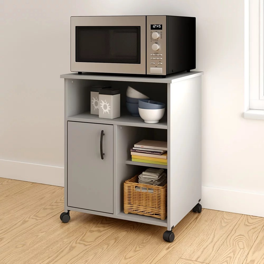 axess microwave cart with storage on wheels soft gray