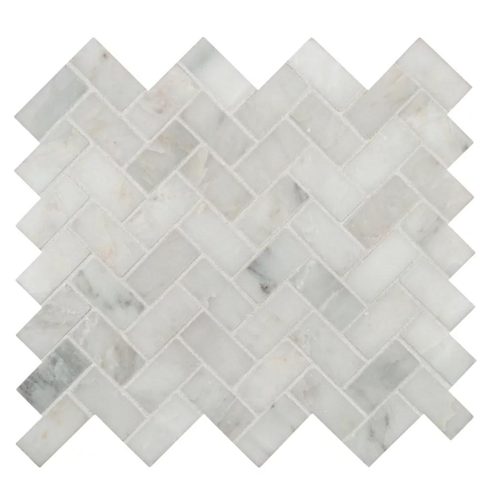 arabescato carrara herringbone pattern 12 inch x 12 inch honed marble mosaic tile 10 sq ft case