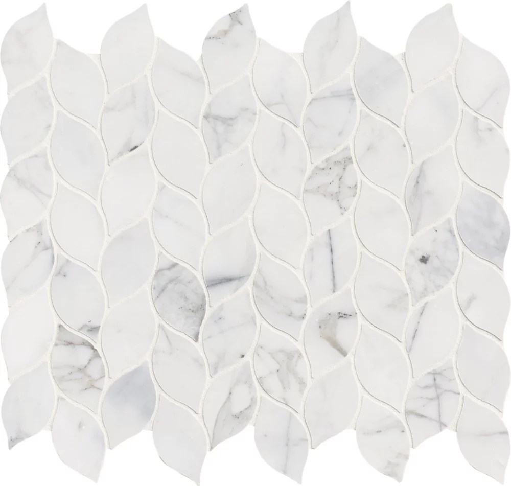 calacatta blanco 12 inch x 13 inch polished marble mesh mounted mosaic tile 10 8 sq ft case