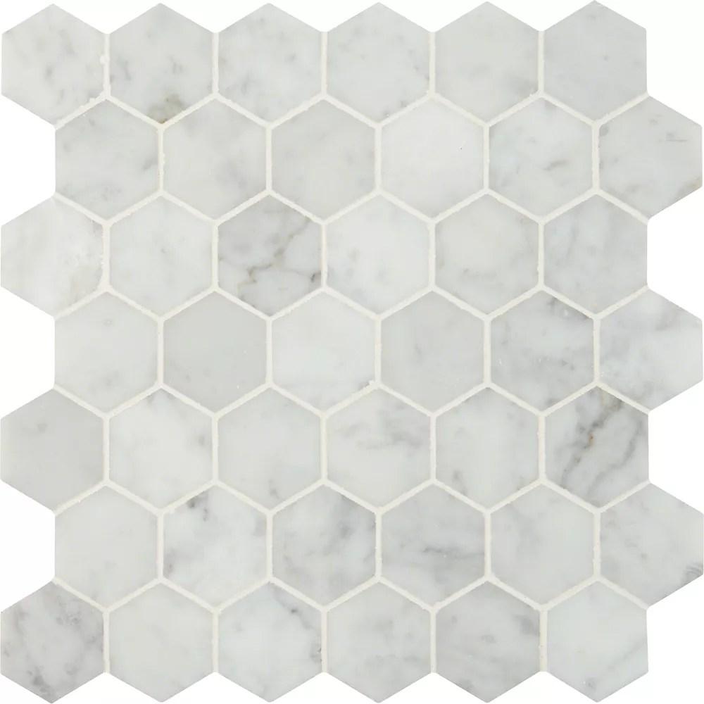carrara white hexagon 12 inch x 12 inch marble mesh mounted mosaic tile 10 sq ft case