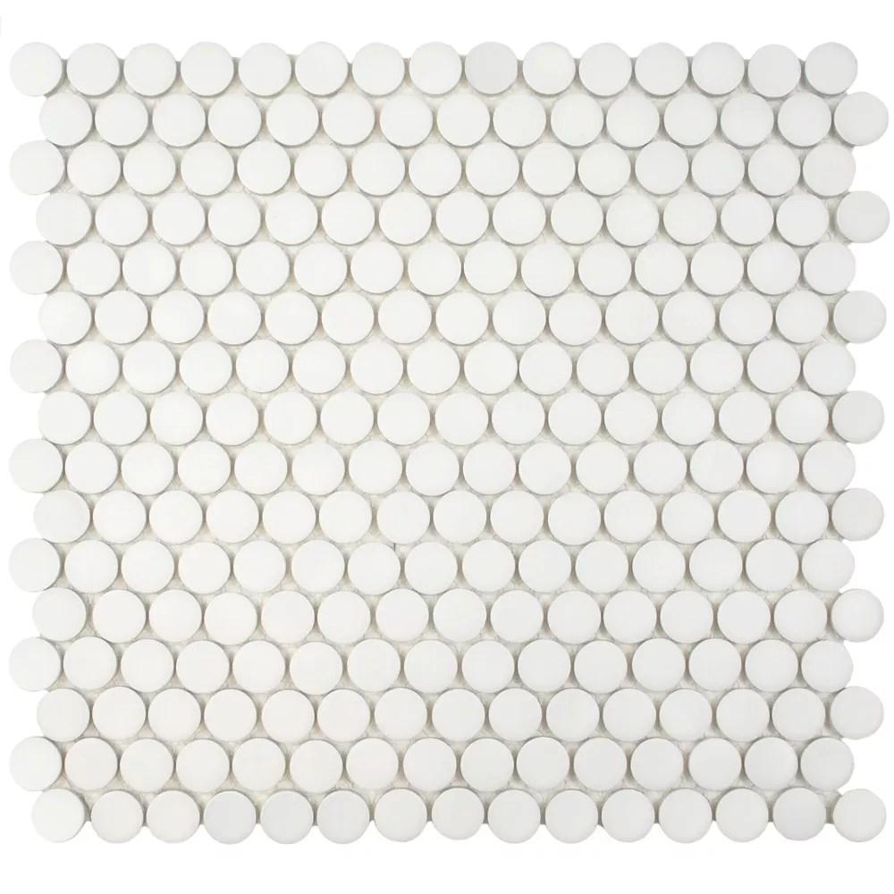 hudson penny round matte white 12 inch x 12 5 8 inch x 5 mm porcelain mosaic tile 10 74 sq ft case