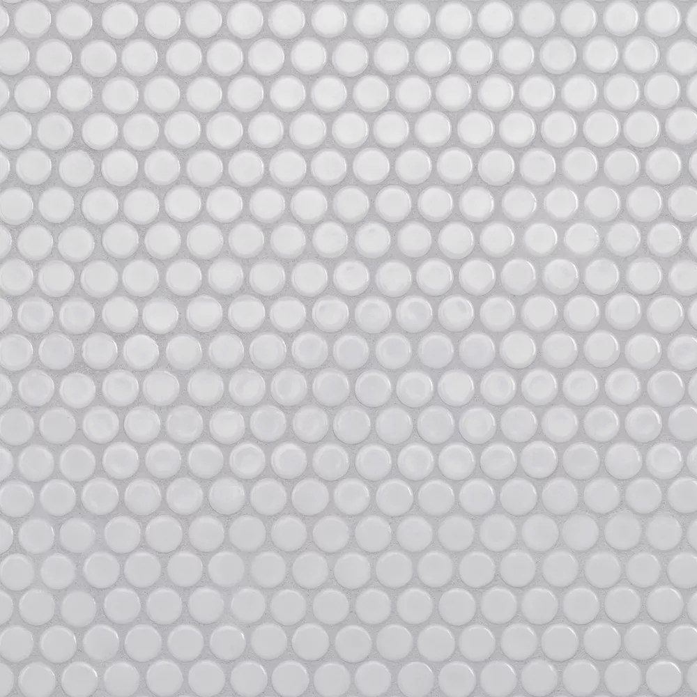 hudson penny round glossy white 12 inch x 12 5 8 inch x 5 mm porcelain mosaic tile 10 74 sq ft case