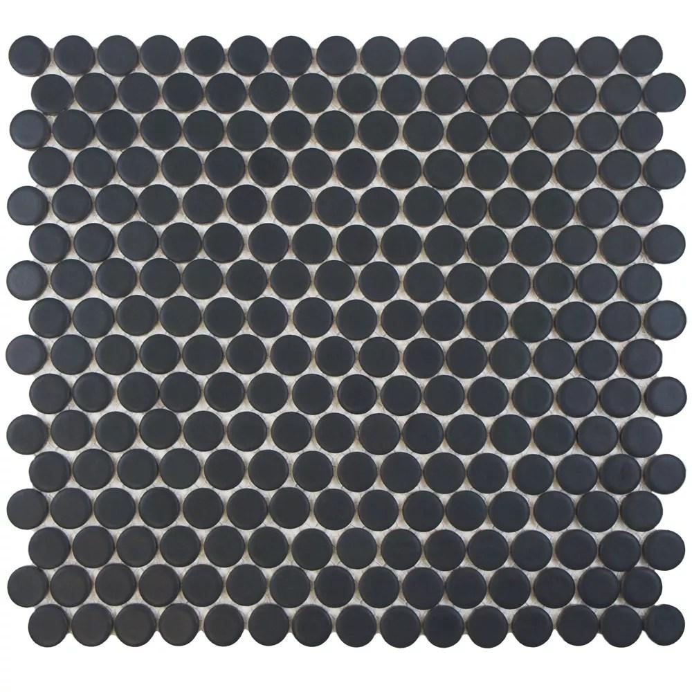 hudson penny round matte black 12 inch x 12 5 8 inch x 5 mm porcelain mosaic tile 10 74 sq ft case