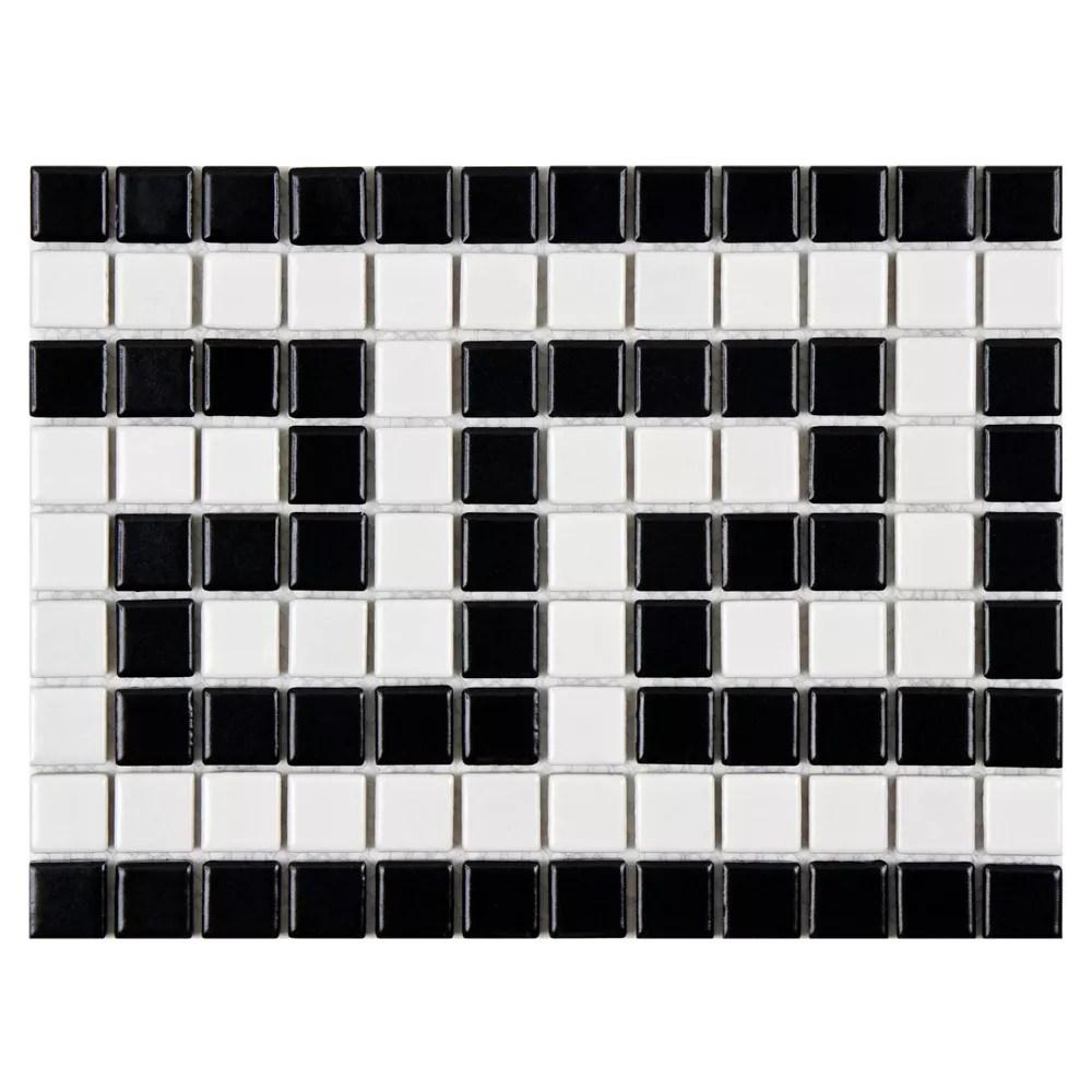 metro greek key matte white and black border 8 inch x 10 1 2 inch x5mm porcelain mosaic tile 6sf ca