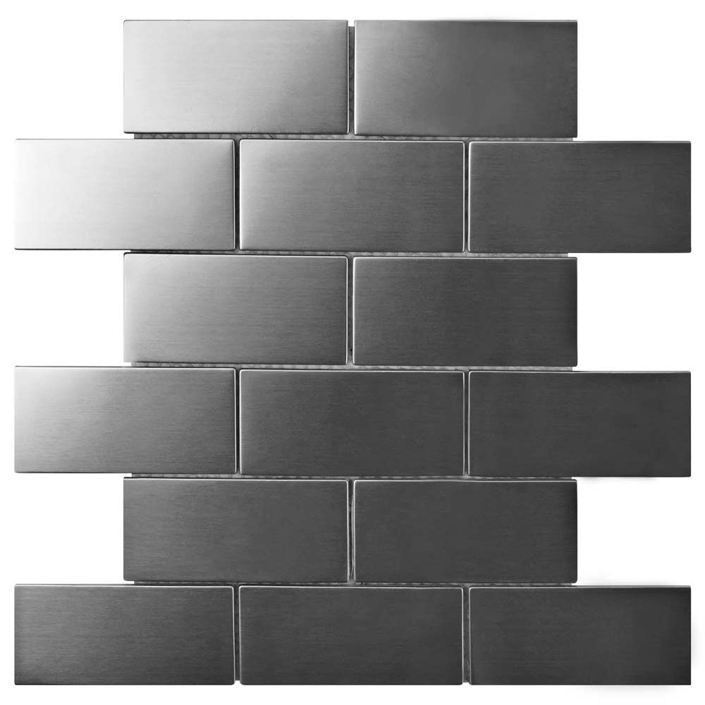 meta super subway 10 inch x 11 3 4 inch x 8 mm stainless steel over ceramic mosaic tile 8 35 sf ca