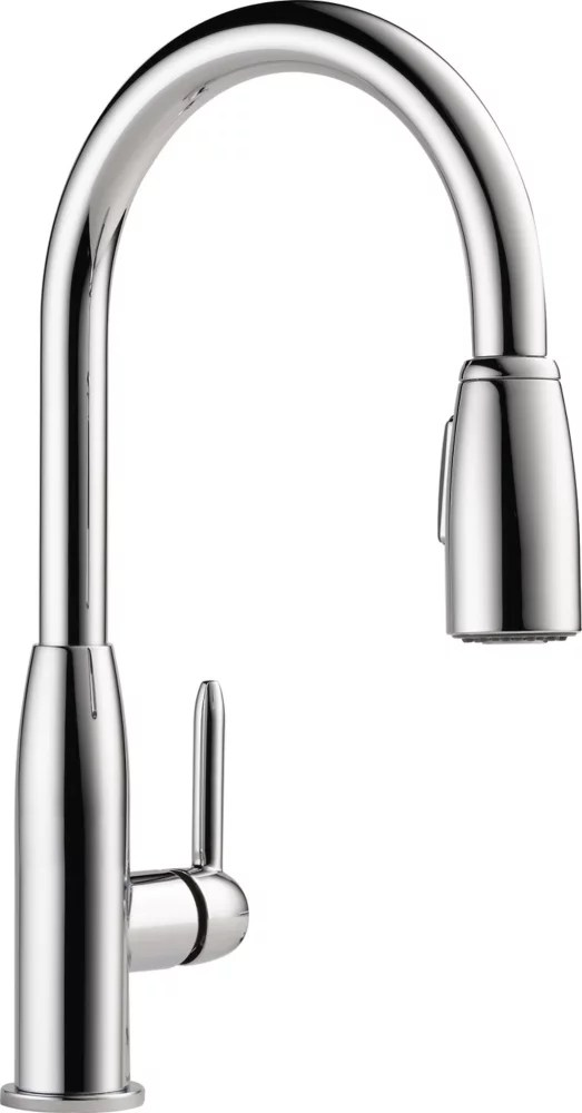 single handle pull down sprayer kitchen faucet in chrome