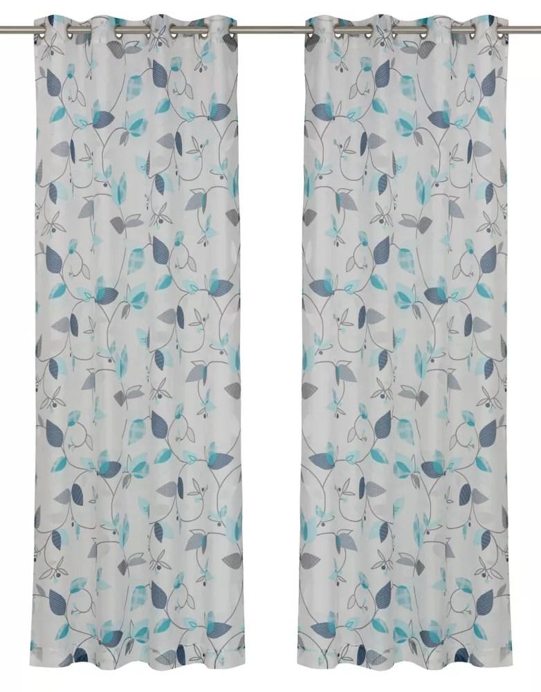 thyme une paire de rideaux voilage floraux a illets 52x95 po blanc bleu turquoise